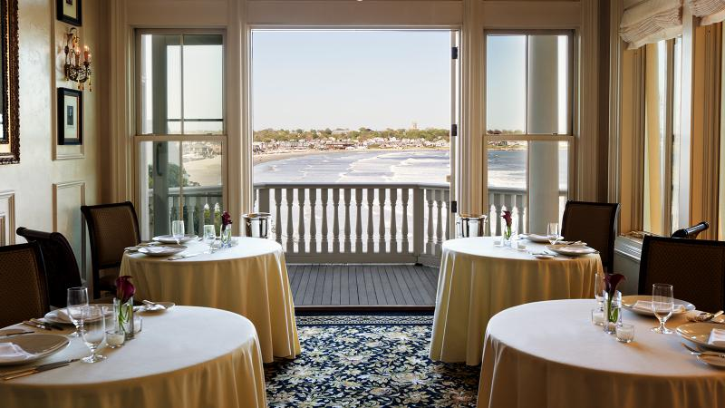 At Spiced Pear Restaurant in Newport, R.I., French doors give a view of the ocean right from the dining room.