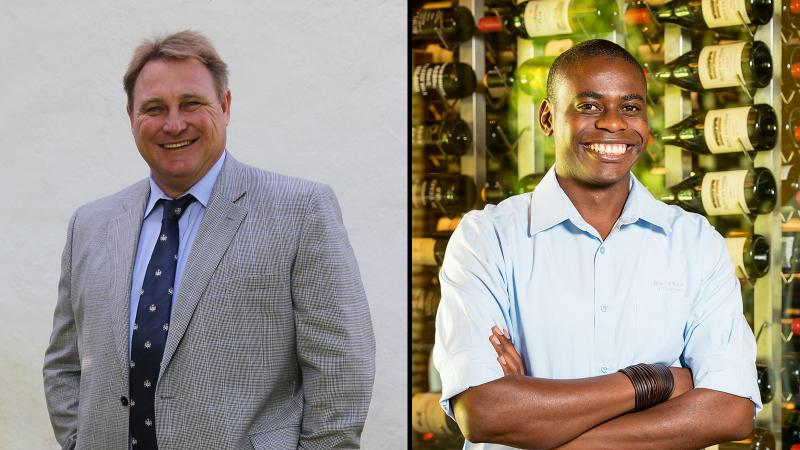 Jean Engelbrecht (L) wanted a restaurant to showcase his own, and his country's, wines; Tawanda Marume (R) is helping him achieve that vision.