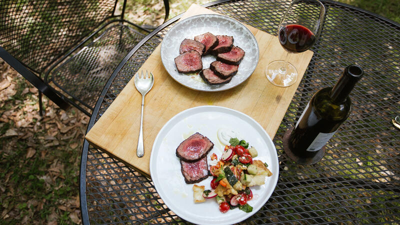 Grilled steak and fattoush salad beat the summer heat.