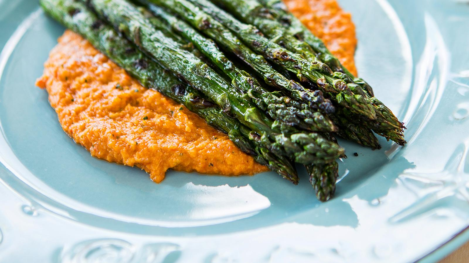 Romesco with Grilled Asparagus