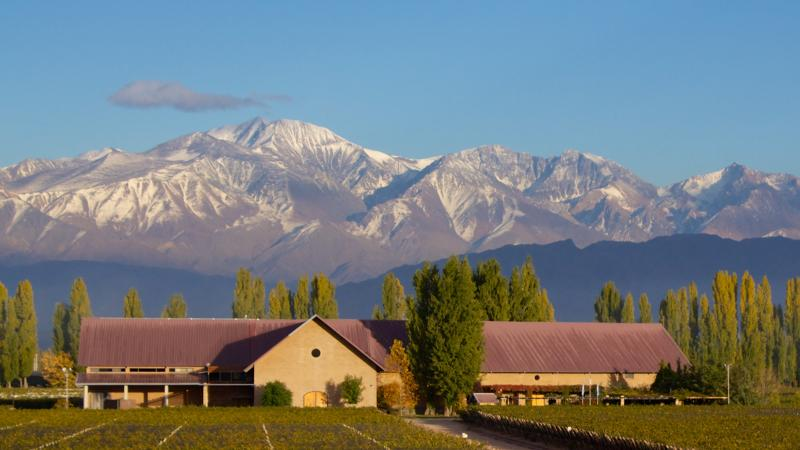 Dominio del Plata sits at the foot of the Andes Mountains.
