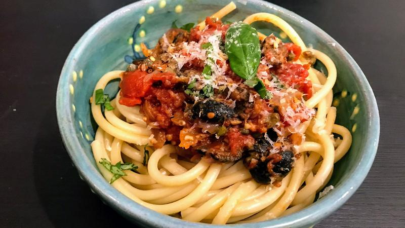 8 & $20: Pasta Puttanesca with a Southern Italian Red Wine