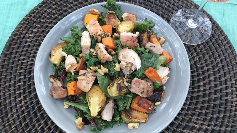 8 & $20: Roasted Autumn Vegetable Salad with Balsamic-Walnut Dressing