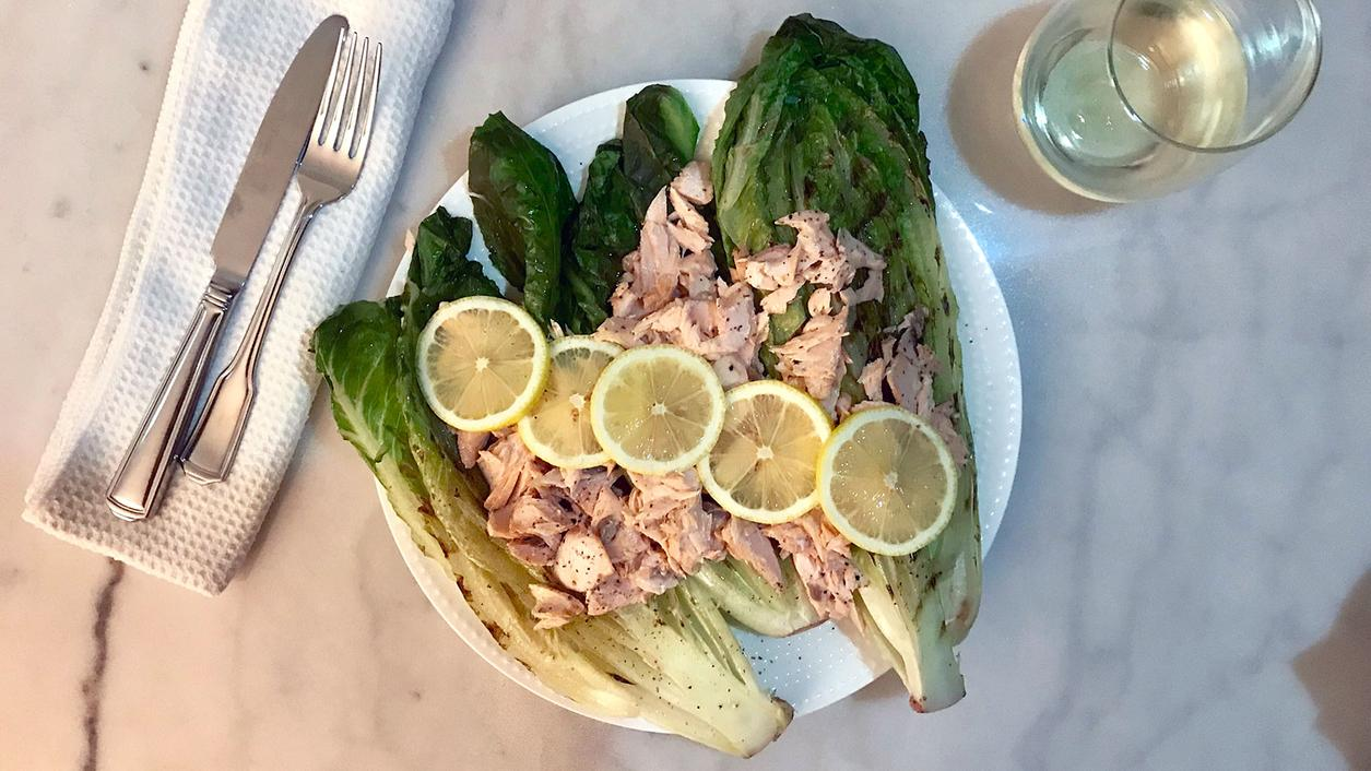 8 & $20: Caesar Salad with Salmon and Grilled Romaine