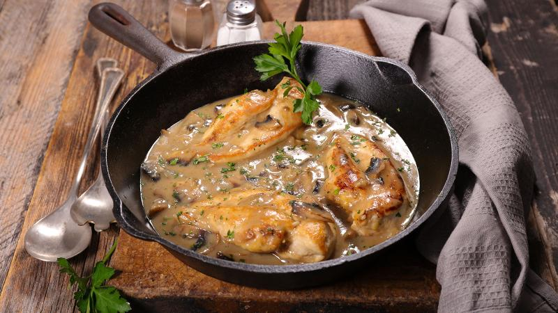 Earthy mushrooms take center stage in this easy chicken dish. While the instinct might be to pair with red wine, an Italian white suits the rich sauce.