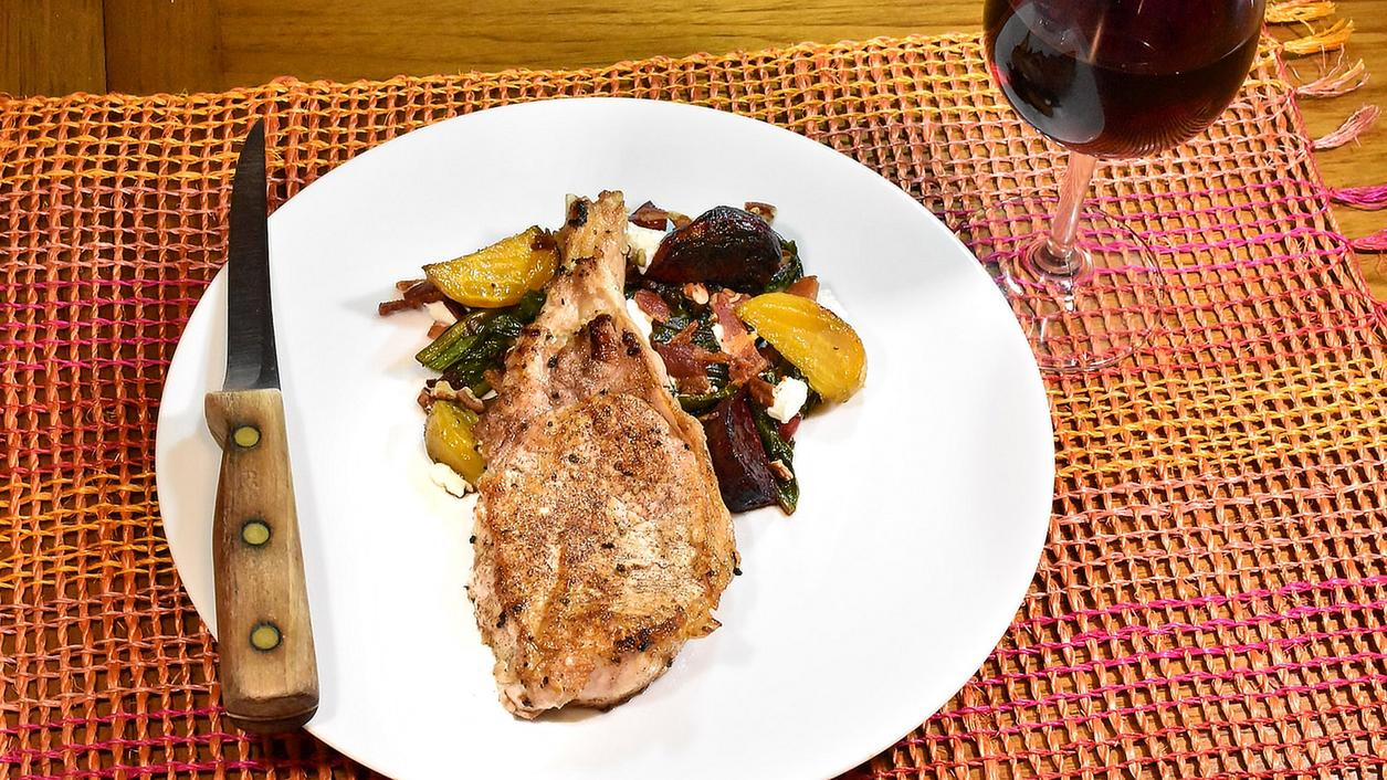 8 & $20: Pork Chops with Roasted Beets and Beet Greens