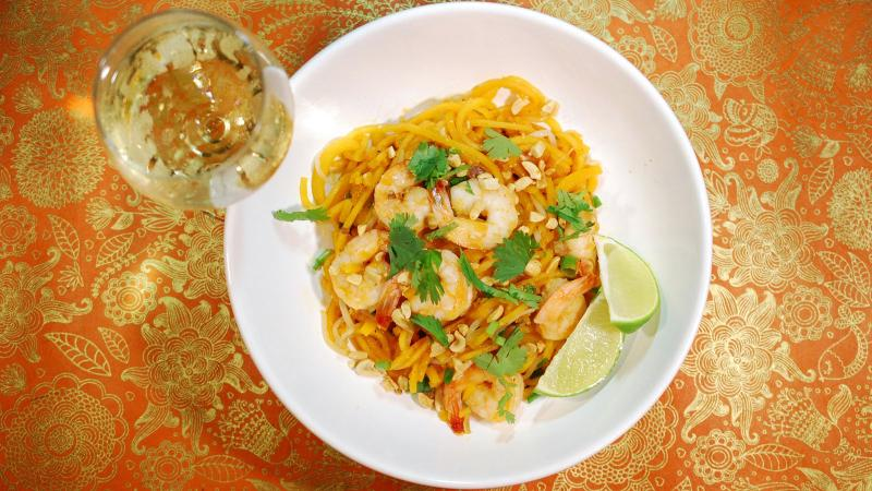 8 & $20: Butternut Squash Noodle Shrimp 'Pad Thai' with a French White
