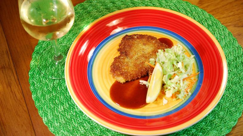 A Chenin Blanc or a Riesling with a touch of sweetness will hold up to the sweet notes in the katsu sauce.