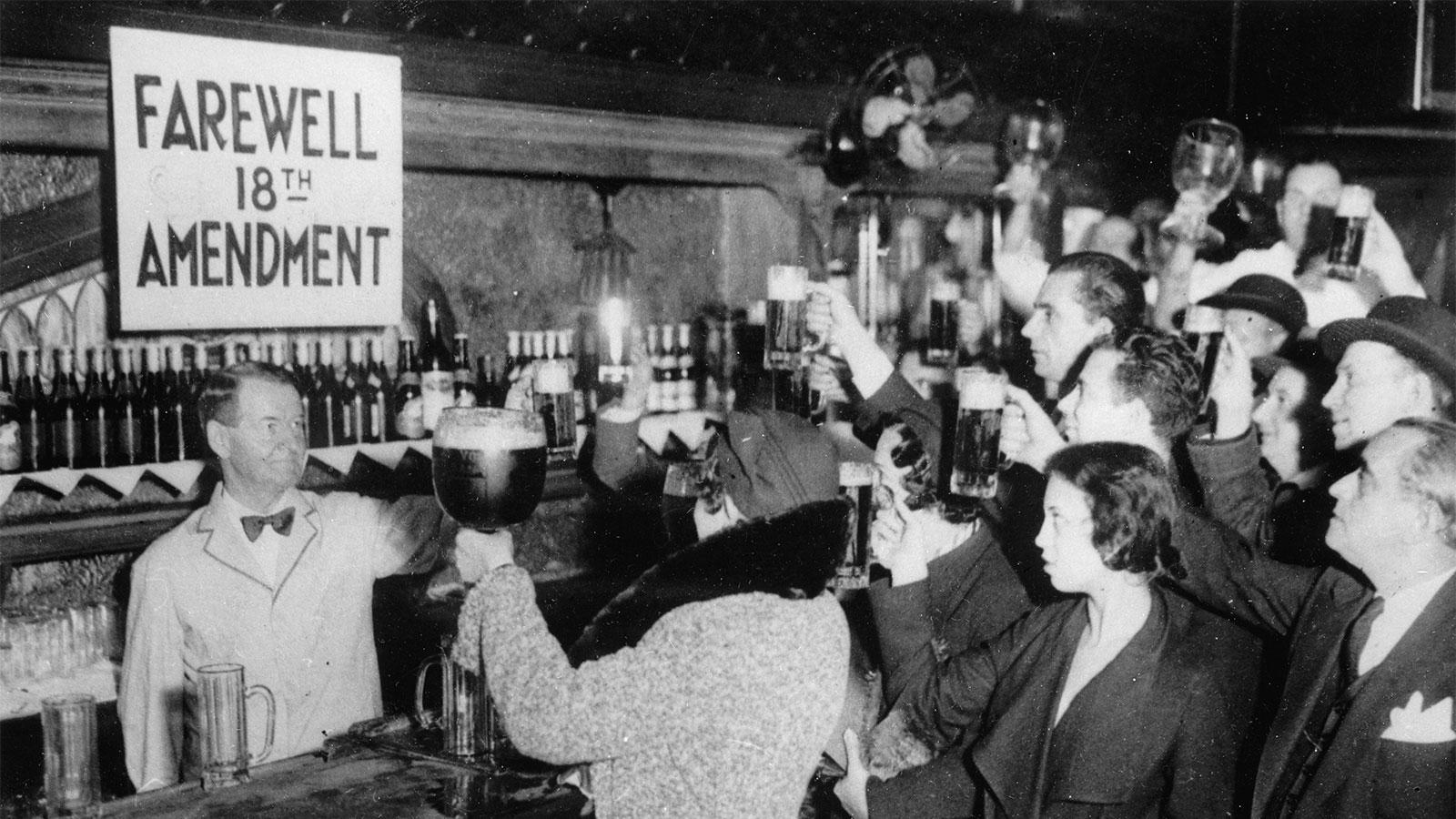 New Yorkers celebrate the end of Prohibition in 1933 with appropriately sized beverages.