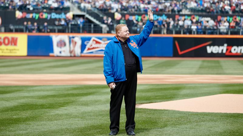 Rusty Staub prepares to throw out the first pitch at Citi Field in 2013.