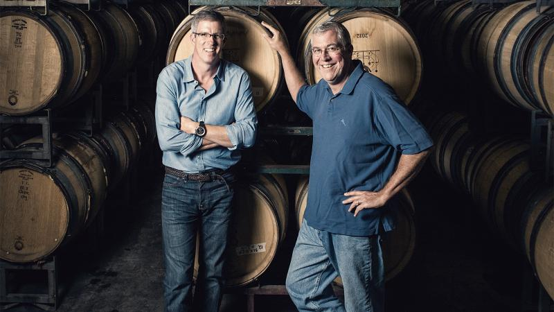 Charles Banks, left, and Bob Lindquist partnered to help Qupé grow; Lindquist and the brand are now moving to Vintage Wine Estates.
