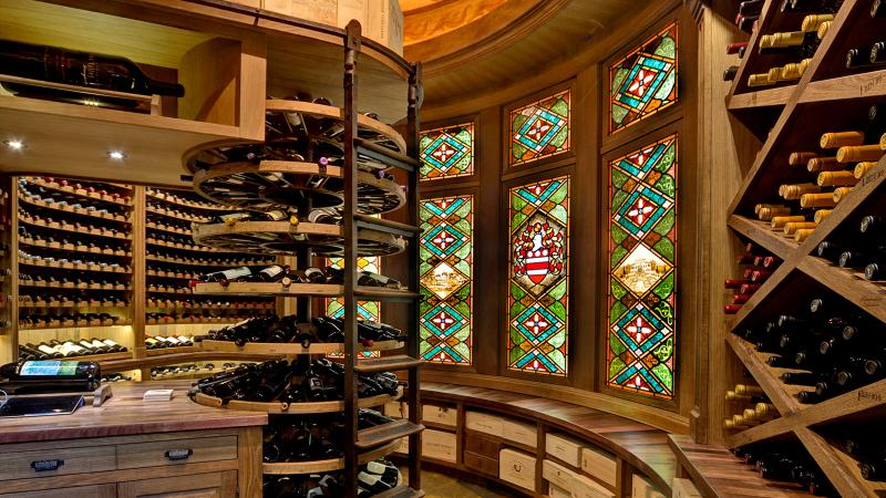 The Clarks' cellar showcases the skilled woodworking of Savanté designer Darryl Hogeback.