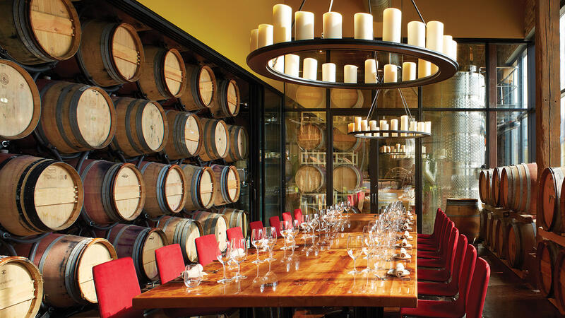 City Winery Chicago serves a variety of wines on tap so guests can enjoy pours directly from the barrel.
