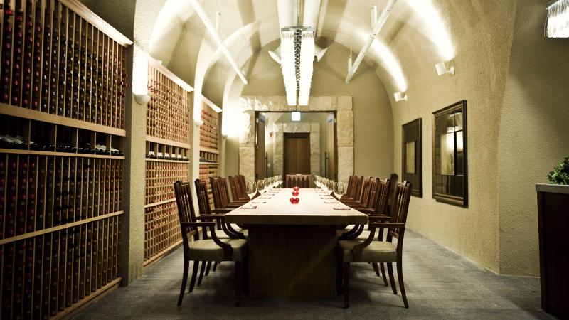 The tasting room at La Grotta showcases some of the restaurant's 30,000-bottle inventory.