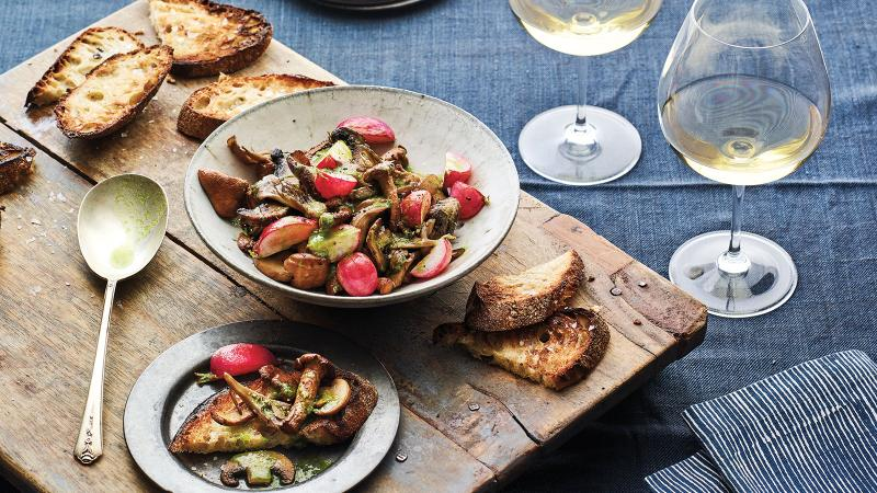 Mushrooms prepared à la grecque, an old-school French pickling method, are updated for today's toast tastes.