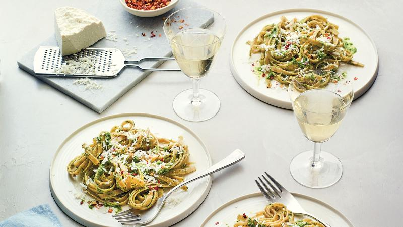 Pesto's edge is smoothed out by using roasted garlic and rich cashews; serve it with a white wine full of ripe fruit.