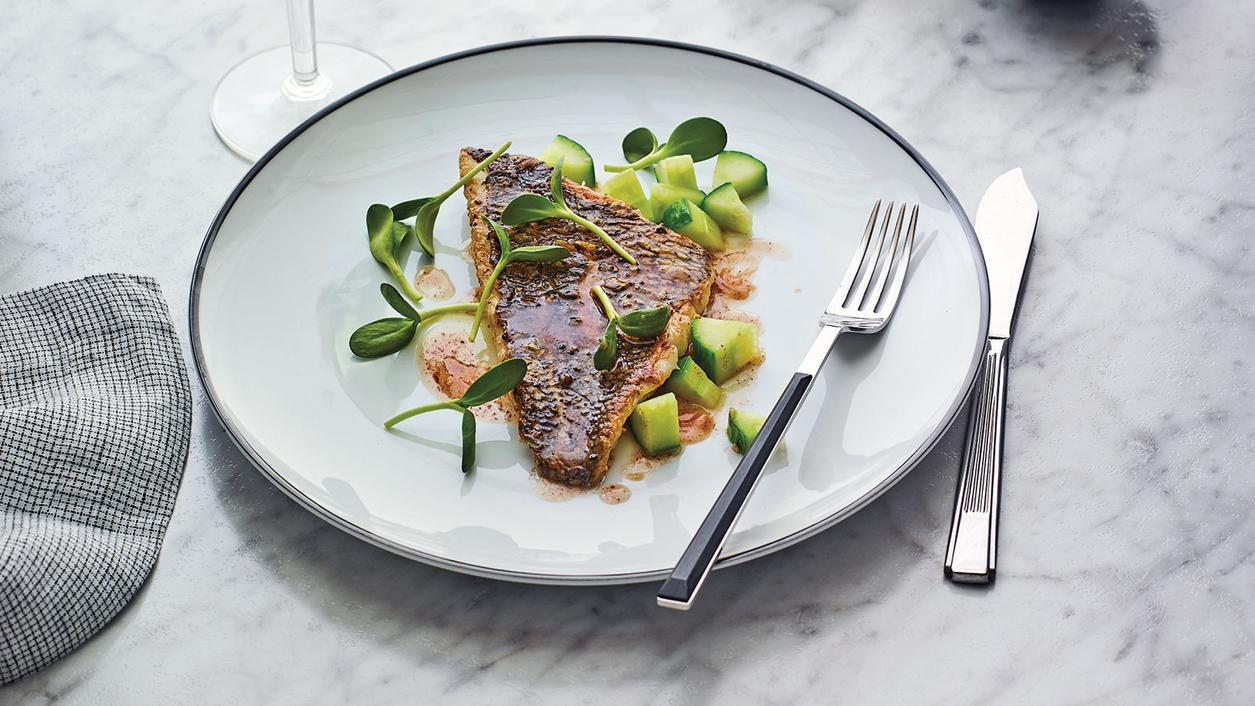 Perfect Match Recipe: Black Bass with Hot Black Butter, Sunflower Sprouts and Cucumber