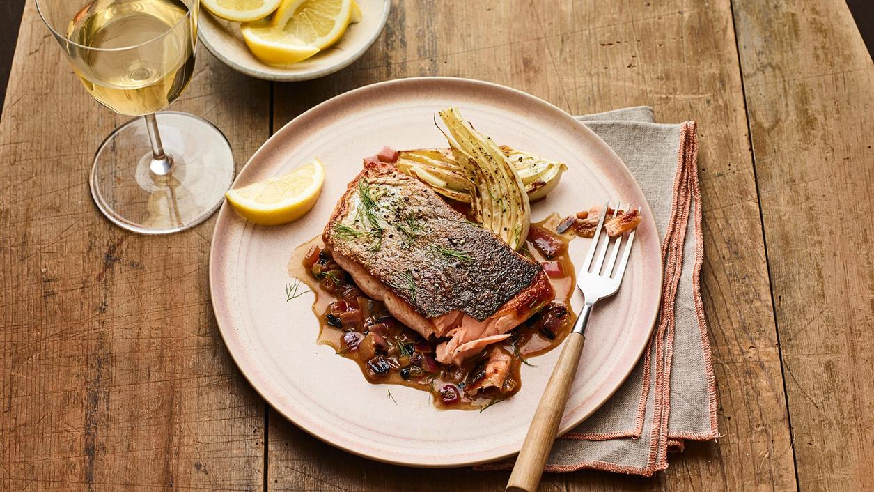 Perfect Match Recipe: Roast Salmon with Fennel and Charred Onion Sauce
