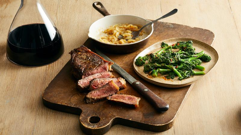Pan-seared steak, butter-simmered onions and lemon- and chile-cooked broccoli rabe come together to strike a bold balance.