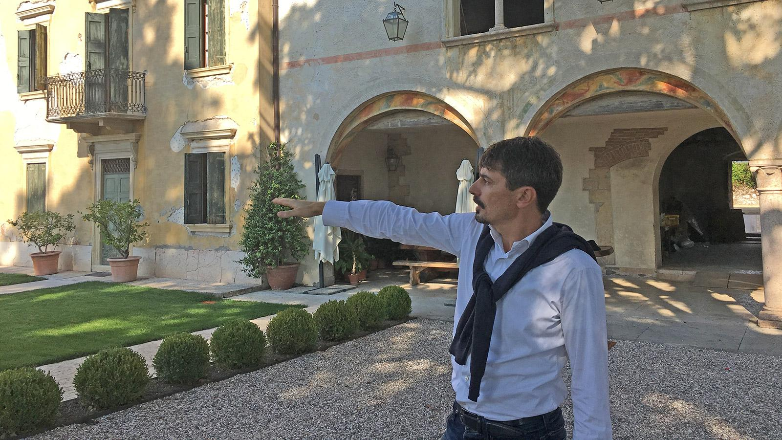 Tommasi president Pierangelo Tommasi looks over the grounds of the historic Villa De Buris, aging cellar for a new Amarone and site of a future hotel and wine bistro.