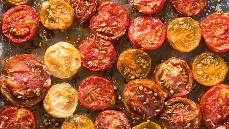Juicy late-summer tomatoes taste even sweeter after a long, slow roasting; an herbal red wine from Tuscany will accentuate their seasoning.