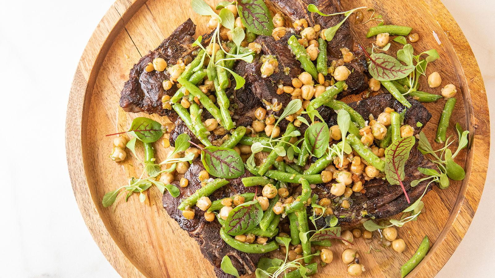 Marinated Lamb Chops with Three-Bean Salad