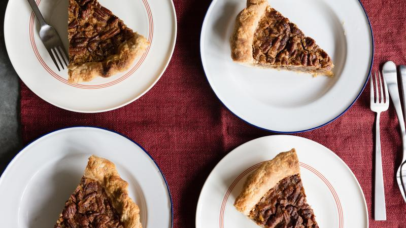 A hint of Bourbon deepens the buttery brown sugar flavor in this pecan pie recipe.