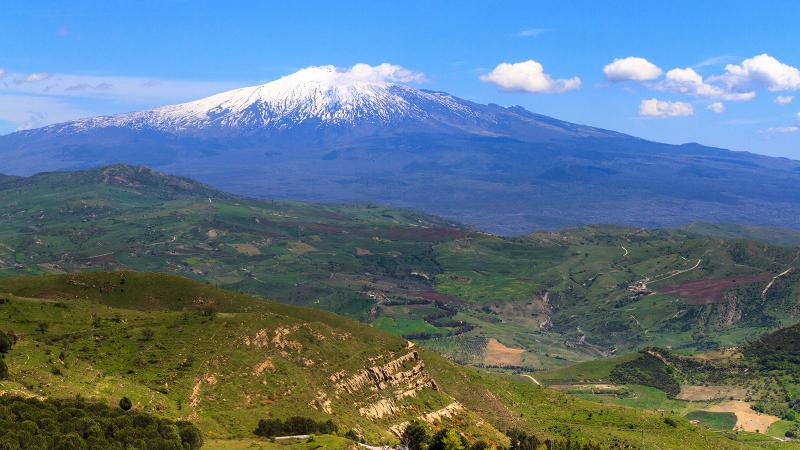 Sicily's Mount Etna overlooks many of the island's best vineyards.