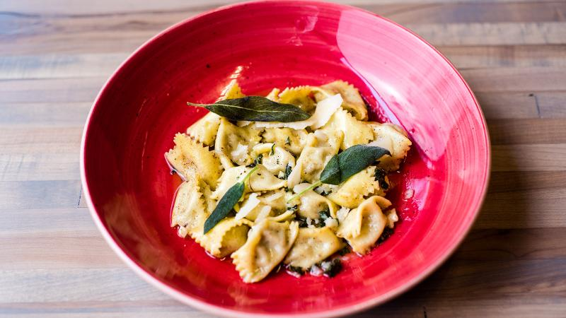 Chow Morso Osteria's agnolotti is stuffed with ground veal, with sage and brown butter.