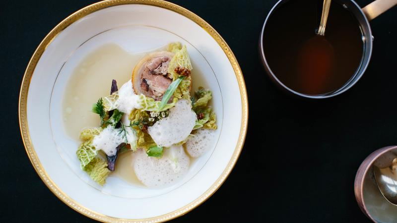 This <i>pied de cochon</i> with sweetbreads is a dish on Bar Crenn's menu that's inspired by pioneering French chef Pierre Koffmann