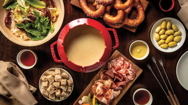 EMP Winter House offers three different types of fondue that are served family-style and brought to you in your private yurt.
