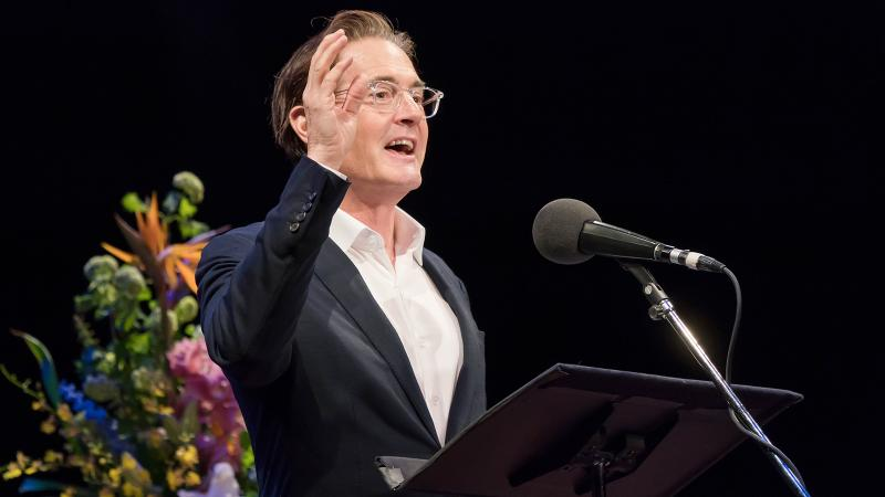 A face for radio (and TV and movies): Kyle MacLachlan performs his bit for the Selected Shorts program.