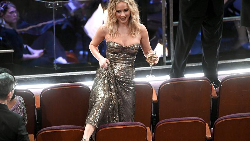 Jennifer Lawrence makes her way from point A to point B as the sparrow flies.