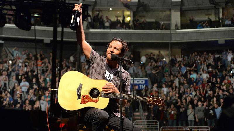Pearl Jam's Eddie Vedder maintains an even flow of wine throughout his concerts.