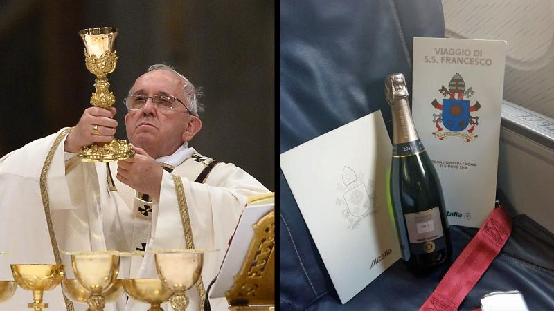 Pope Francis raised a glass ... 35,000 feet up.