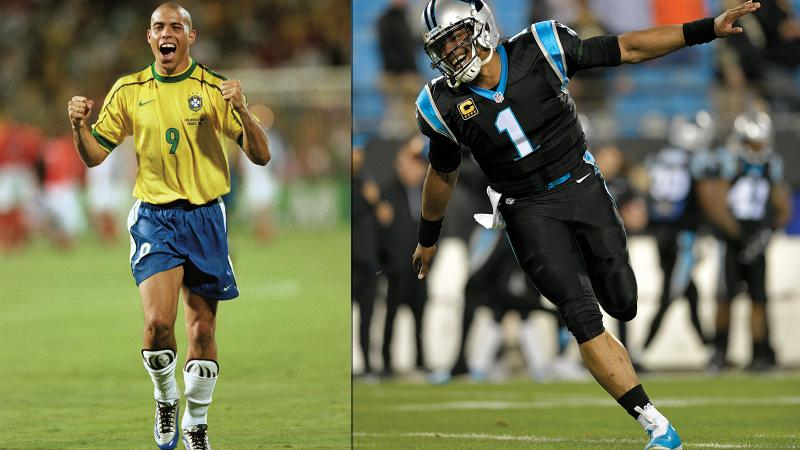 Image for an article: Ronaldo (left) and Cam Newton have both been kicking back with wine lately.