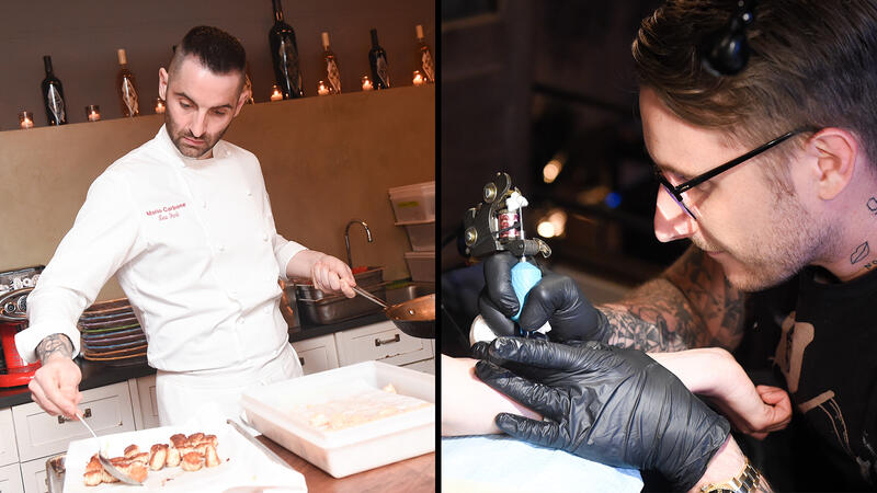 Bearded dudes with fades and tattoos: Mario Carbone and Scott Campbell work their respective magics.