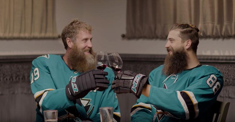 Joe Thornton and Brent Burns toast to achieving the Central Coast winemaker look.