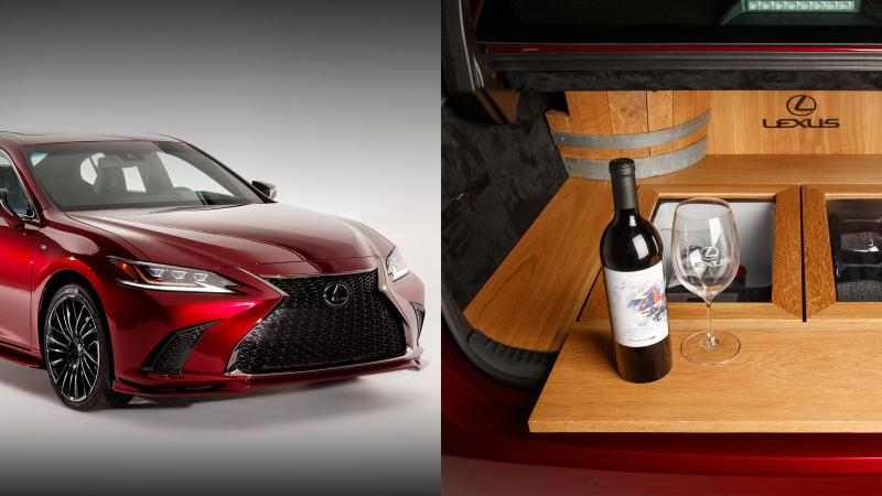 Image for an article: When that new car smell is wine: Pop the trunk on the Lexus ES 350 F Sport Culinary Build.