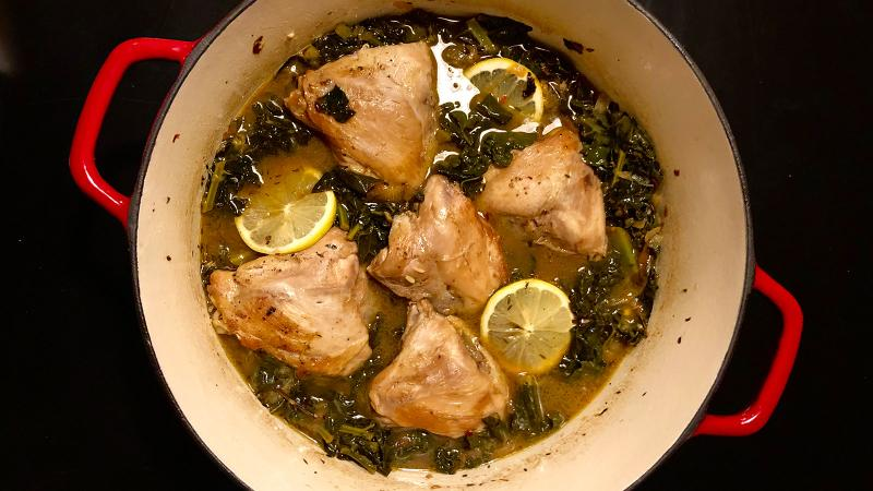 8 & $20: Chicken Thighs with Pan Sauce, Lemon and Kale