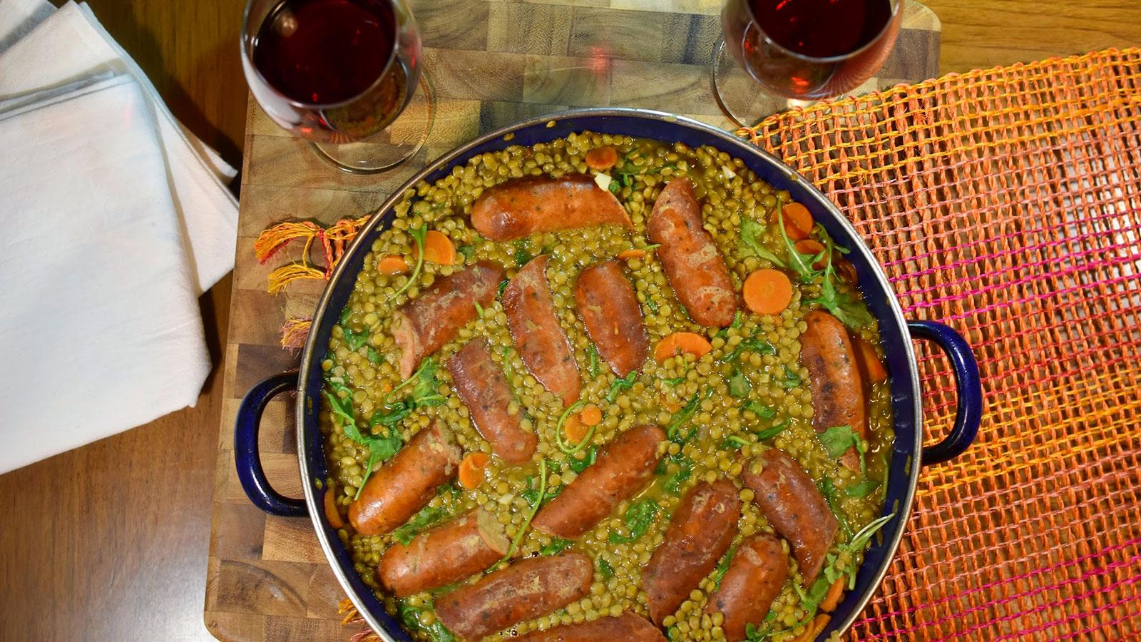 8 & $20: Lentils with Sausages and Arugula