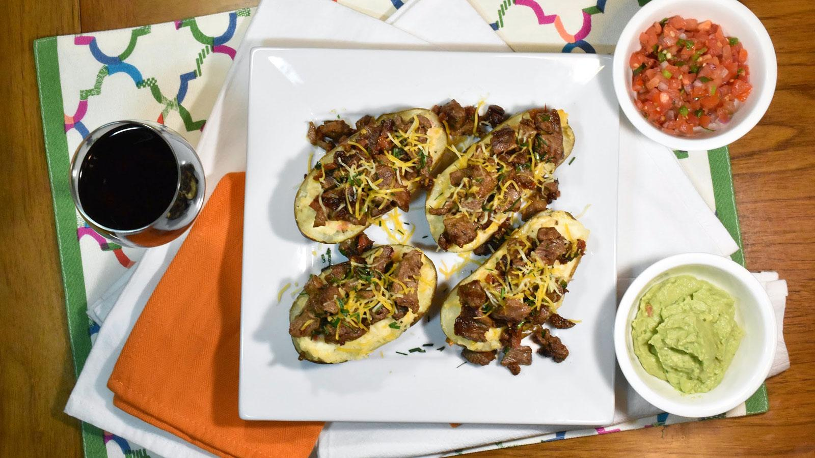 8 & $20: Steak-Loaded Cheesy Baked Potatoes