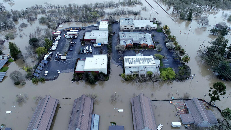 Floodwaters from the Laguna de Santa Rosa swamped the Barlow district in Sebastopol, Calif.