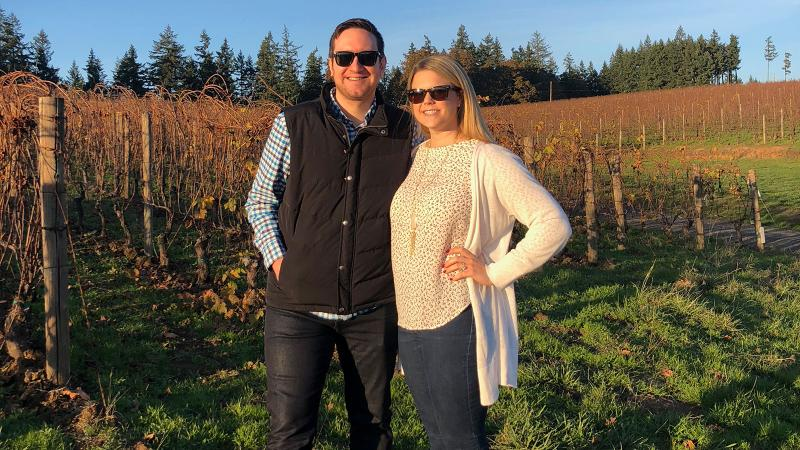 John and Laura Zimcosky visited Beaux Frères Vineyard in Oregon.