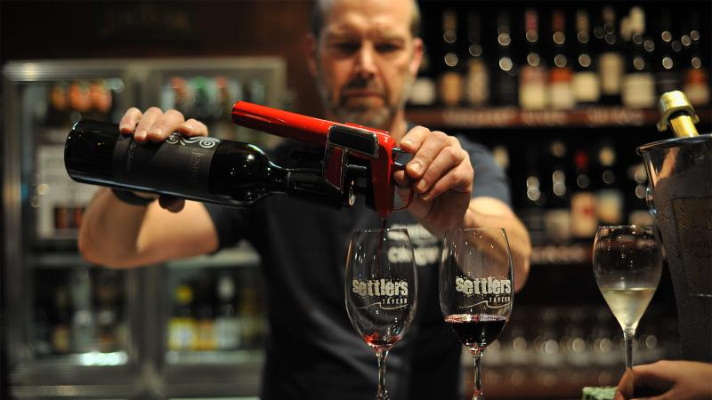 Settlers Tavern prides itself on its lengthy and frequently updated selection of wines by the glass.