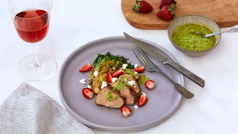 Perfect Match Recipe: Roast Pork Tenderloin with Pickled Strawberries, Goat Cheese and Ramp Pesto