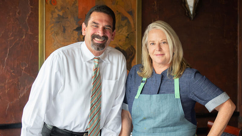 "Image for an article: ""We have people who are on their 23rd anniversary, and their first date was at Boulevard,"" says chef Nancy Oakes (pictured with John Lancaster)."