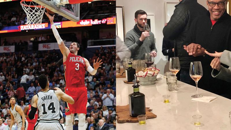 Nikola Mirotic (left) earns a bottle of wine for every game he does this move 15 times; Pelicans coach Alvin Gentry (far right) and assistant coach Joe Boylan (gray sweater) taste at McEvoy Ranch.