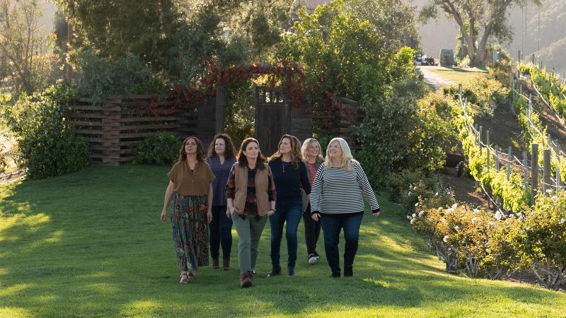 Image for an article: The cast on location in Napa, where Amy Poehler's team had scoped out three wineries for filming. From left: Maya Rudolph, Emily Spivey, Tina Fey, Ana Gasteyer, Amy Poehler and Paula Pell.