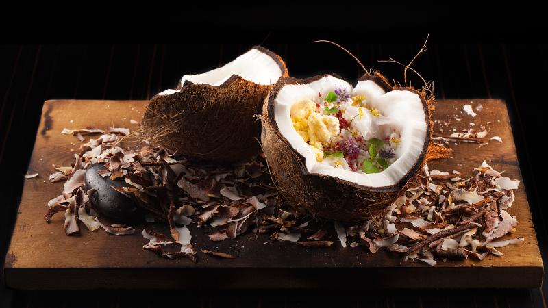 Thailand, Sicily, Japanese kaiseki and Chicago steakhouse have all been inspirations for dishes like this fantastical coconut creation.